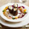 Cannolo Venere con ricotta, carpaccio di pagello agli agrumi e insalata invernale