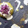 Mini timballi alla crema di fave fresche con pecorino fuso alla menta e germogli di rapanello