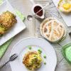 Brunch con Pancake di Riso Carnaroli integrale e piselli, tigelle alla Farina di Riso e cestini di uova